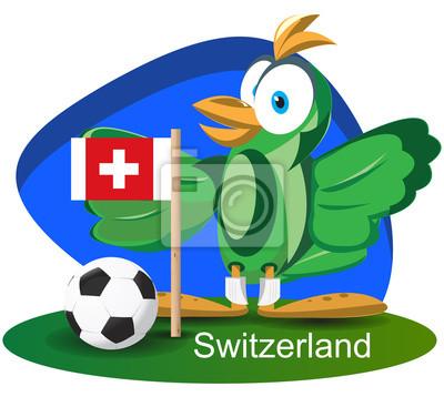 WM-Maskottchen 2014 mit der Schweiz-Team-Flagge