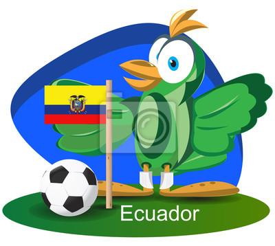WM-Maskottchen 2014 mit Ecuador-Team-Flagge