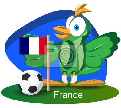 WM-Maskottchen 2014 mit Frankreich-Team-Flagge