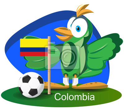 WM-Maskottchen 2014 mit Kolumbien-Team-Flagge