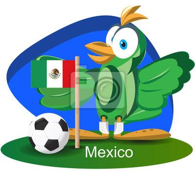 WM-Maskottchen 2014 mit Mexiko-Team-Flagge