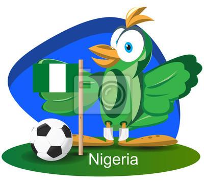 WM-Maskottchen 2014 mit Nigeria-Team-Flagge