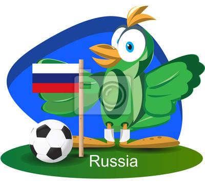 WM-Maskottchen 2014 mit Russland-Team-Flagge