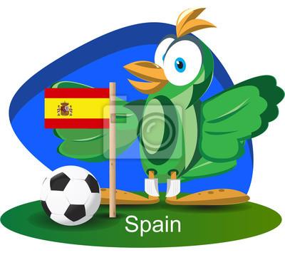 WM-Maskottchen 2014 mit Spanien-Team-Flagge