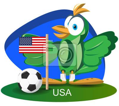 WM-Maskottchen 2014 mit USA-Flagge-Team