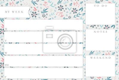 Fototapete Wochenplaner Mit Blauen Blumen, Briefpapierorganisator Für  Tägliche Pläne, Wöchentliche Planerschablone Des Blumenvektors,