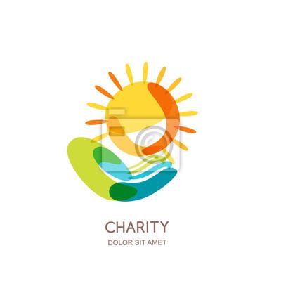 Wohltätigkeit vektor-logo-design-vorlage. abstrakte bunte sonne ...