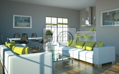 Fototapete: Wohndesign - wohnzimmer weiß grün