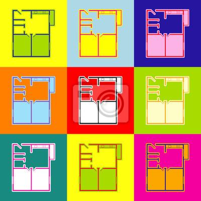 Wohnung Haus Grundrisse Vektor Pop Art Stil Bunte Icons Mit
