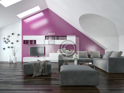 Wohnung wohnzimmer interieur mit lila akzent fototapete ...