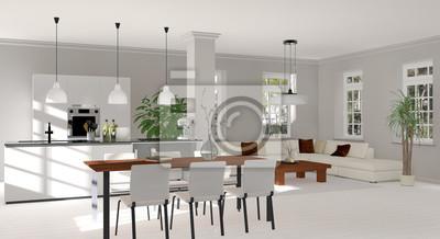 Wohnzimmer, esszimmer, küche fototapete • fototapeten Anker ...