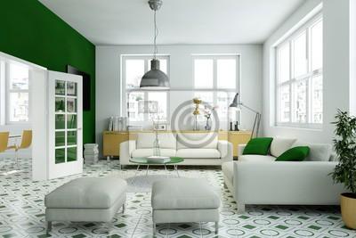 Fototapete: Wohnzimmer gelb grün