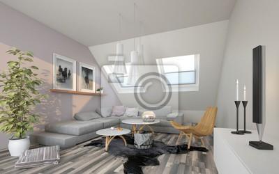 Wohnzimmer Im Dachgeschoss Fototapete Fototapeten Zimmer Wohnung