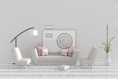 Wohnzimmer Im Relax Tag Dekor Mit Sofa Zwei Sessel Rosa Weißes