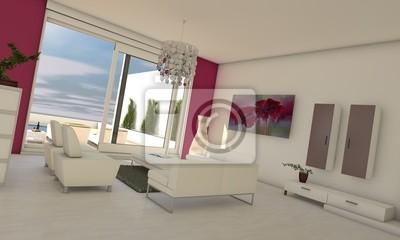 Wohnzimmer in rosa / weiß fototapete • fototapeten Mantel, gewinnen ...