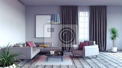 Wohnzimmer, innenarchitektur 3d render 3d-darstellung ...