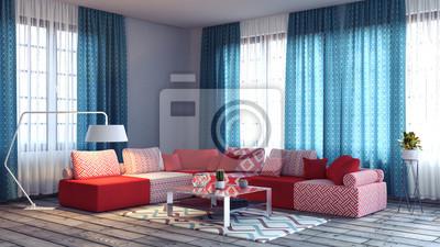 Wohnzimmer, innenarchitektur 3d render 3d-darstellung fototapete ...