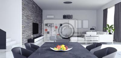 Wohnzimmer, innenarchitektur 3d rendering fototapete ...