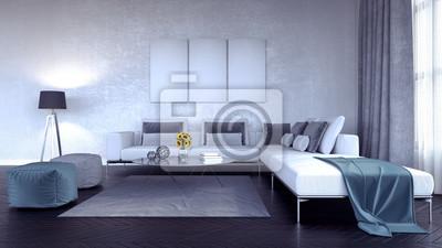 Fototapete: Wohnzimmer, innenarchitektur 3d übertragen illustration 3d