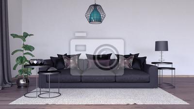 Wohnzimmer, innenarchitektur 3d übertragen illustration 3d ...