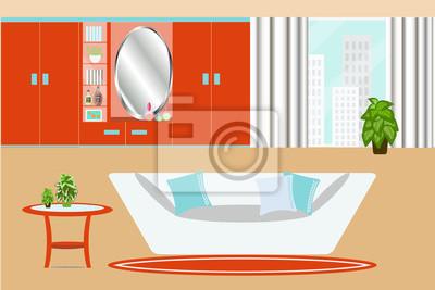 Fototapete Wohnzimmer Innenraum Vektor Illustration. Schrank, Fenster,  Sofa, Kissen, Pflanzen