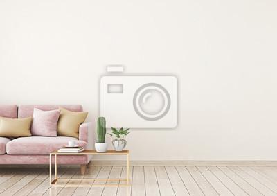 Wohnzimmer innenwand mock up mit rosa samt sofa und kissen auf ...