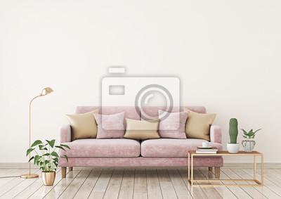 Fototapete Wohnzimmer Innenwand Mock Up Mit Rosa Stoff Sofa Und Kissen Auf  Licht Beige Wand Hintergrund