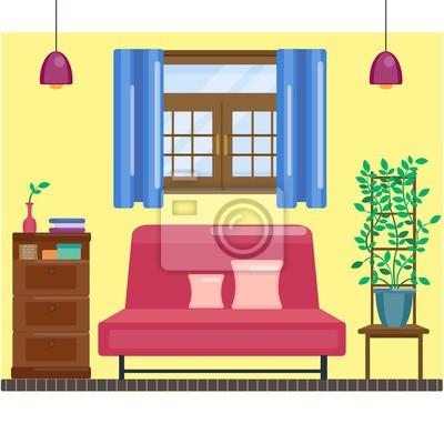 Fototapete Wohnzimmer Interieur Mit Fenster Und Vorhang. Gemütliche Halle.  Vector Home Interior In Flachen