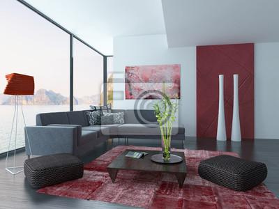 Wohnzimmer interieur mit roten wand und teppich fototapete ...