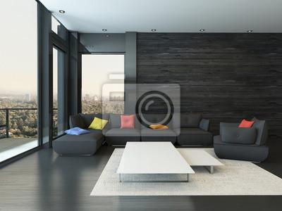 Wohnzimmer Interieur Mit Schwarzen Couch Mit Farbigem Kissen