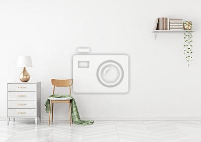 Wohnzimmer interieur mit stuhl, plaid, kommode und regal mit ...