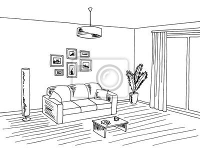 Wohnzimmer interieur schwarz weiß grafik skizze illustration ...