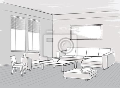 Lounge möbel wohnzimmer  Wohnzimmer interieur skizze lounge-möbel: sessel, stuhl, sitze ...