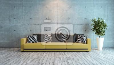 Wohnzimmer mit betonwand innenarchitektur idee 3d-rendering ...