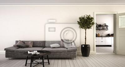 Wohnzimmer Tür, wohnzimmer mit einer offenen tür zur küche und heller wand, Design ideen