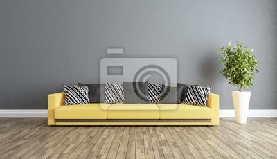 Wohnzimmer mit grauen wand innenraum design idee 3d rendering ...