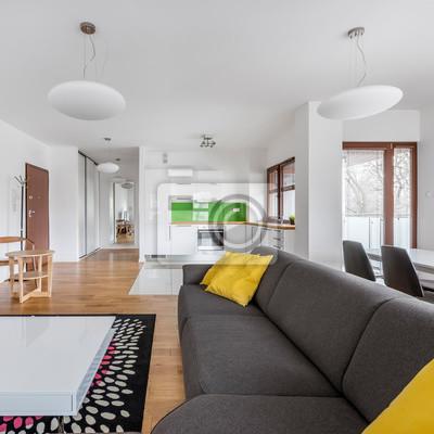 Wohnzimmer Mit Grauer Couch Fototapete Fototapeten Myloview De