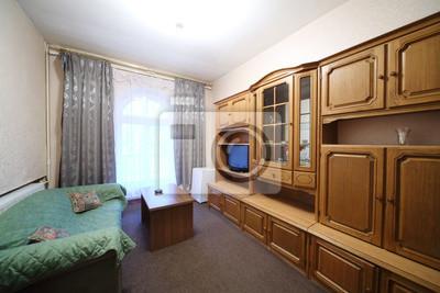 Fototapete Wohnzimmer Mit Grünen Sofa Und Einem Wandschrank