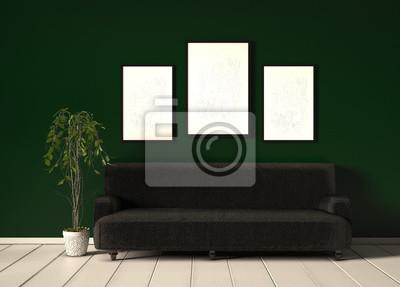 Wohnzimmer mit grüner tapete fototapete • fototapeten ...