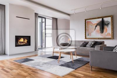 Wohnzimmer mit kamin fototapete • fototapeten appartment, Couchtisch ...