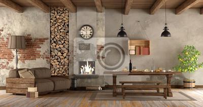 Fototapete: Wohnzimmer mit kamin im rustikalen stil