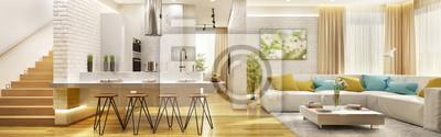 Fototapete Wohnzimmer mit moderner Küche im großen Haus