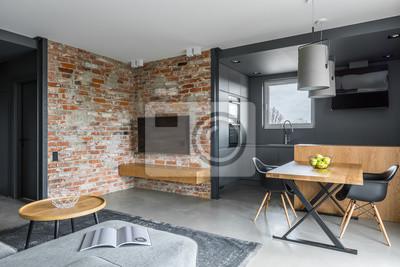 Wohnzimmer mit offener küche fototapete • fototapeten appartment ...