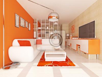 Wohnzimmer mit orange wand fototapete • fototapeten Holzboden ...