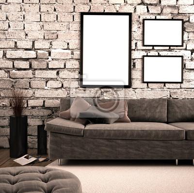 Fototapete Wohnzimmer Mit Sofa Vor Ziegelwand