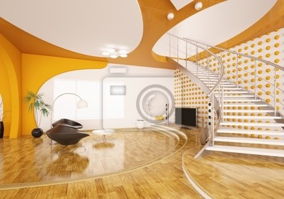 Fototapete: Wohnzimmer mit treppe interior 3d render