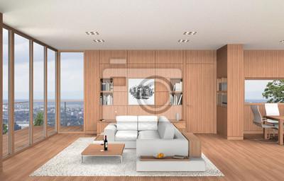 Fototapete Wohnzimmer Und Esszimmer In Moderner Innenarchitektur Mit  Einrichtung In Buchenholz