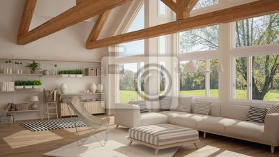 Hochwertig Fototapete Wohnzimmer Von Luxus Öko Haus, Parkettboden Und Holzbinder,  Panoramafenster Auf Sommerfrühlingswiese