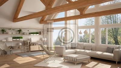 Fototapete Wohnzimmer Von Luxus Öko Haus, Parkettboden Und Holzbinder,  Panoramafenster Auf Sommerfrühlingswiese