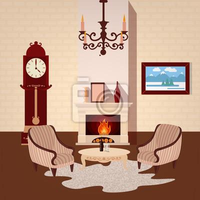 Wohnzimmer Zimmer Mit Vintage Kronleuchter Und Kamin Fototapete